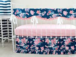 Pink Floral Crib Bedding Navy Floral Crib Rail Cover Navy And Pink Nursery Baby