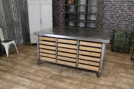 stainless kitchen island stainless steel kitchen island on castors eighteen pine drawers