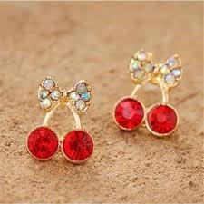pretty earrings women pretty fashion cherry bow knot stud earrings