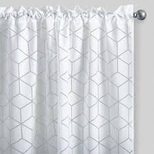 white cubic burnout sheer curtains set of 2 world market