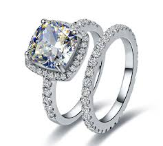 bridal engagement rings images Drop ship 3ct cushion halo rings set pillow cut simulate diamond jpg