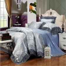 Jacquard Bed Set Luxury Lace Royal Blue Bedding Set 4pcs King Size Jacquard