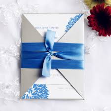 wedding ribbon blue dandelion pocket invitation with ribbon iwgy076 wedding