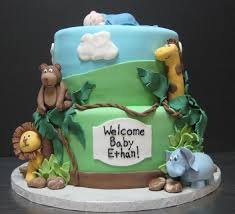 baby shower cakes baby boy jungle shower cakes