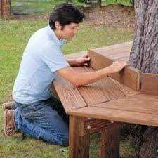 How To Make A Round Wooden Picnic Table by Tree Benches Foter