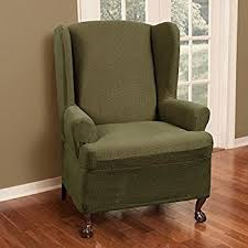 green chair slipcover amazon com stretch pique balsam green wing chair cover 708 home