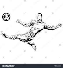 football soccer player kicking ball sketch stock vector 581949904