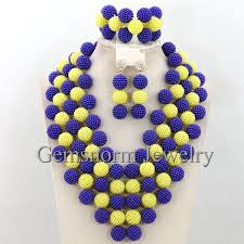 gorgeous blue balls necklace set new traditional