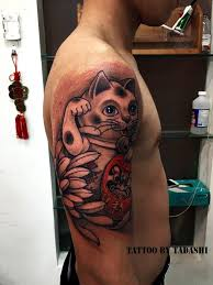 tattoo cat neko crane tattoo full back
