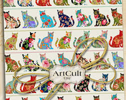 cat wrapping paper cat digital etsy