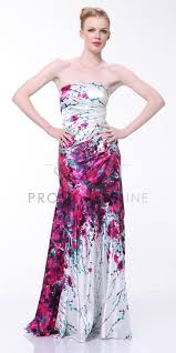 strapless floral engulfed full length print prom dress unique