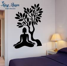 compare prices on zen living room furniture online shopping buy buddha vinyl decal buddha tree blossom yoga meditation relaxation zen mural art wall sticker living room