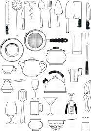 Kitchen Utensils Tableware Kitchen Utensils Silhouettes Vector Image 25197