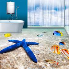 sea beach starfish 3d floor tiles vinyl wallpaper bathroom bedroom