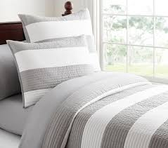 Pottery Barn Down Comforter Stripe Quilted Bedding