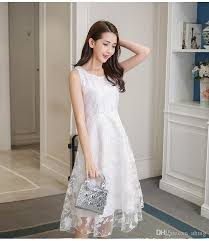 women dress white wainst lace doce partysu long vest skirt beach