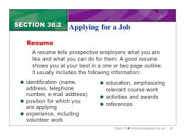 Best Volunteer Work For Resume by Section 38 2 Applying For A Job Ppt Download