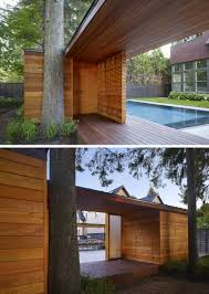 a pool house was designed to contain a shower and change room for