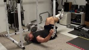 Legs Up Bench Press Abdominal Exercise Feet Anchored One Arm Dumbbell Bench Press