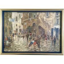 hedra s figural oil painting busy cuban or european street scene gumgumfuninthesun ruby lane