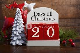 20 days till christmas vintage style wood calendar with red and