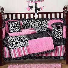 Baby Nursery Bedding Sets For Boys by Bedroom Oak Wood Baby Crib Using Pink Black And White Bedding
