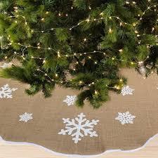 burlap tree skirt ourwarm 48 inch burlap tree skirt snowflake christmas tree