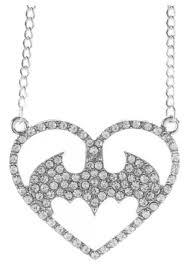 batman logo heart bling necklace halloween costumes