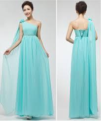 aliexpress com buy light blue bridesmaid dress one shoulder
