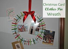 christmas card holder card clothes pin wreath