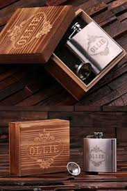 Wooden Flasks Personalized Engraved Leather Wallet U0026 Steel Whiskey Flask In Wood