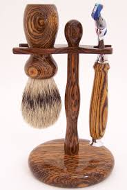 Old Fashioned Shave Kit Bocote Wood 24mm Silvertip Badger Brush Fusion Razor And Stand