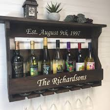 personalized wine rack engraved wine rack wedding gift idea
