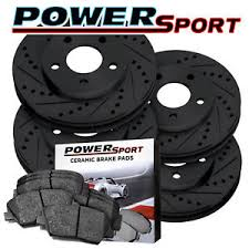 bmw rotors brake rotors kit powersport black drilled slotted pads