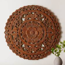 circular wood wall authentic circular floral wooden wall hanging siam sawadee
