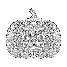 Halloween Printable Coloring Pages Halloween Complex Pumpkin With Flowers And Leaves By Ipanki