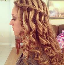 pageant style curling long hair waterfall braid with curly hair braid waterfall curly hair