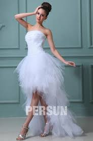 image robe de mari e robe de mariée plage bustier ruchée courte devant longue derrière