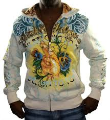 christian audigier ed hardy platinum fingers mens hoodie hooded
