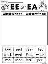 ee ea worksheets u0026 activities no prep word sorts phonics and