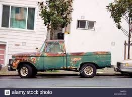 Old Rusty Pickup Truck On San Francisco Street Stock Photo
