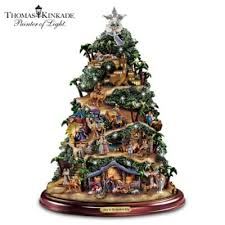 kinkade illuminated nativity tabletop tree to the