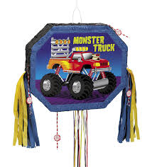monster jam truck theme songs amazon com monster truck pinata pull string kitchen u0026 dining