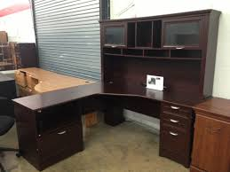 furniture dark brown l shaped desk with hutch and storage with