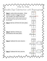 double digit subtraction with regrouping by happy to be in k 3 tpt
