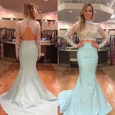 two pieces mermaid prom dresses lace long sleeve bodice baby blue