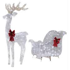 led light for christmas walmart holiday time christmas decor 52in reindeer 40in sleigh with 120