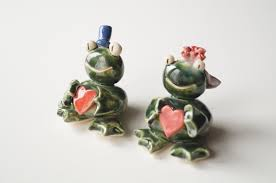 frog cake topper ceramic frog wedding cake topper love frog