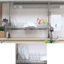 stainless steel pillar dish drying rack shelf sink kitchen