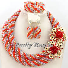 crystal bead necklace jewelry images New latest nigerian wedding african beads jewelry set handmade jpg